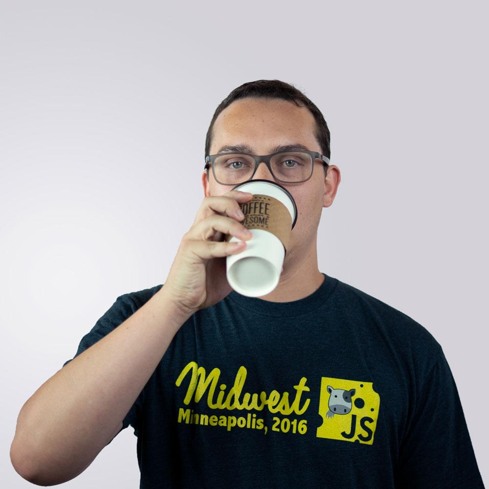 Blake drinking coffee