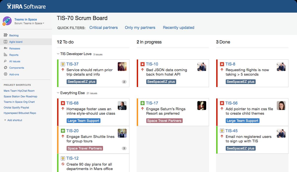 jira software screenshot of to do in progress done