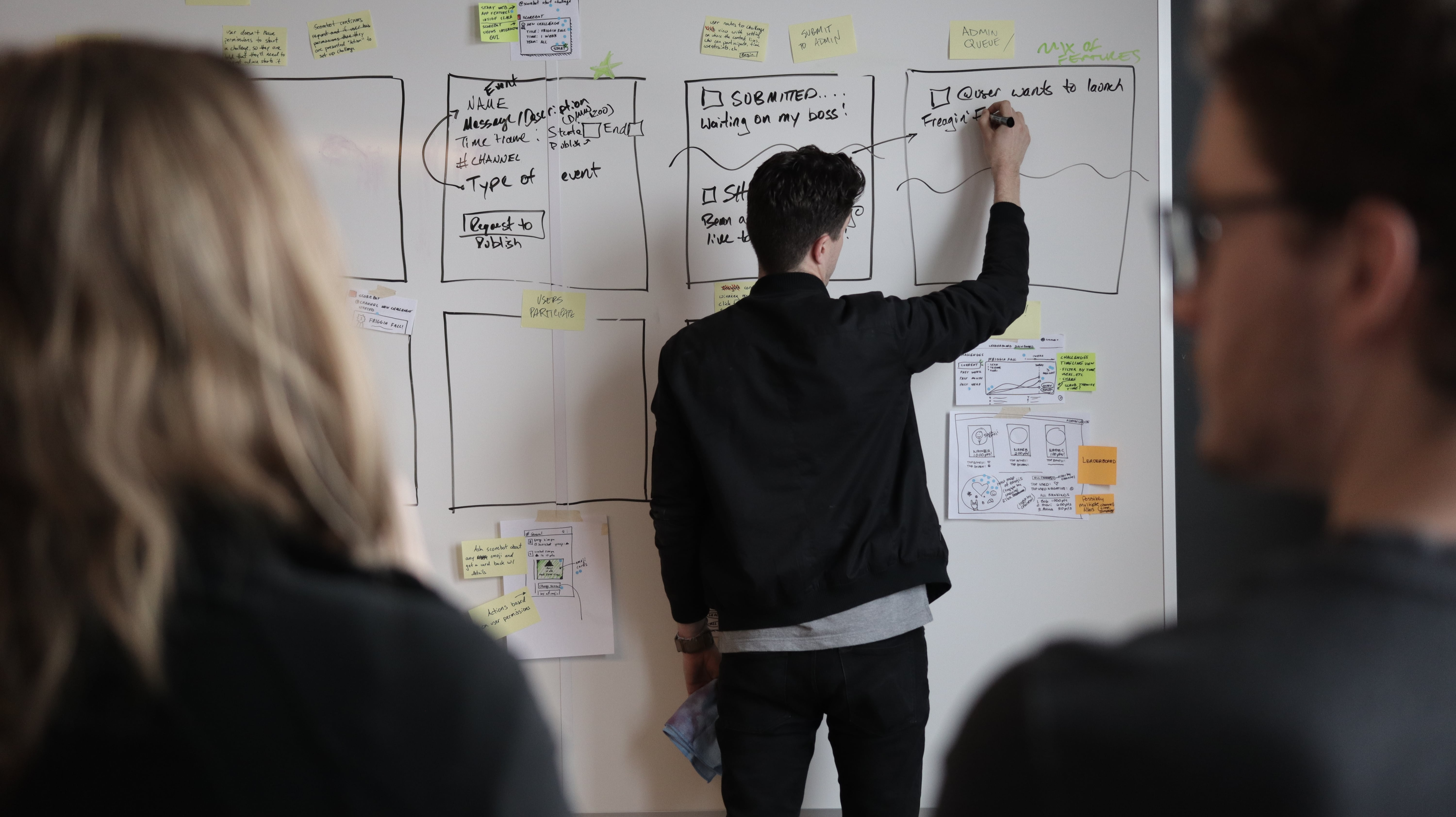 man writing on board during design sprint mapping out digital product
