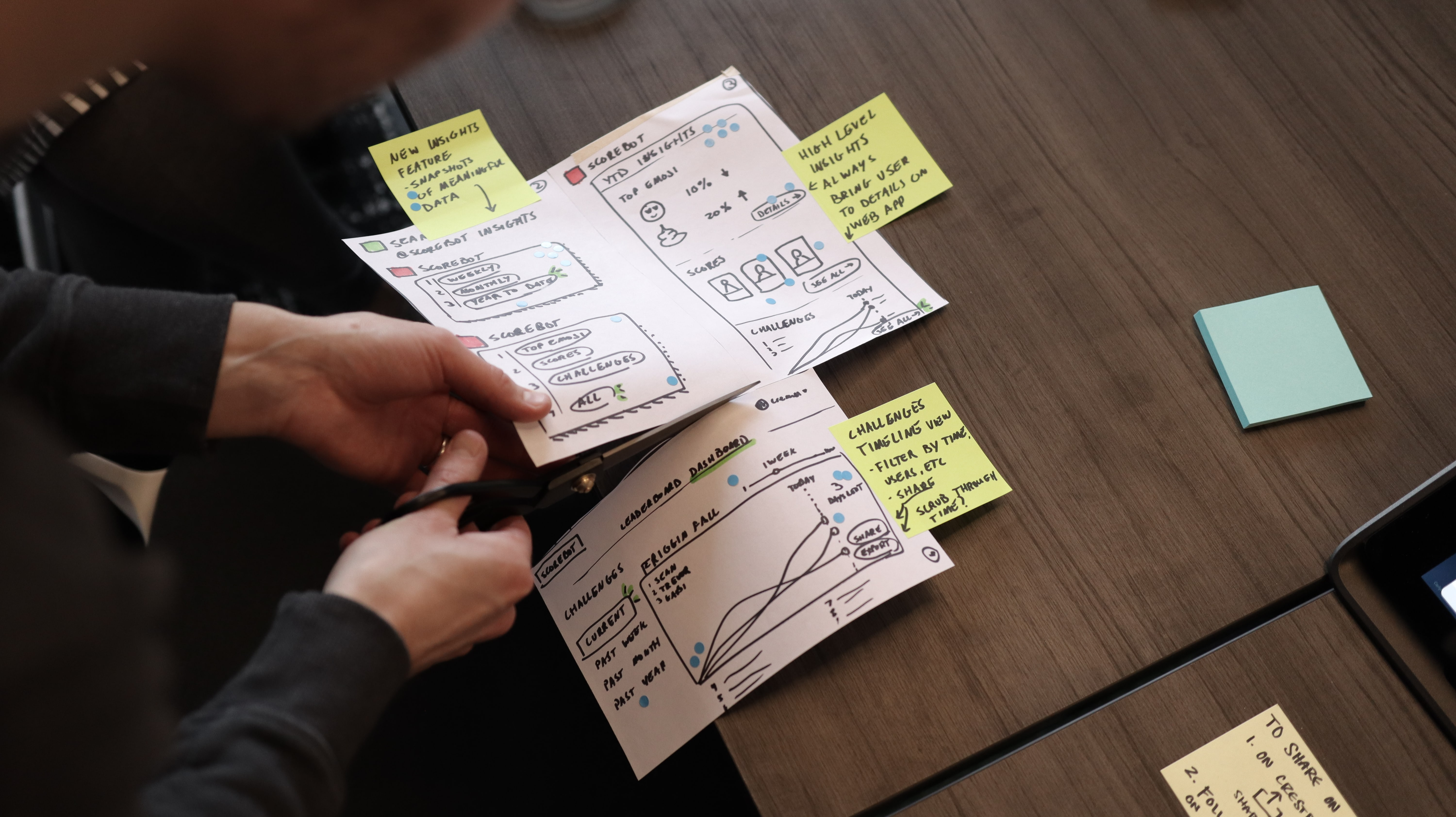 Man cutting out designs during design sprint