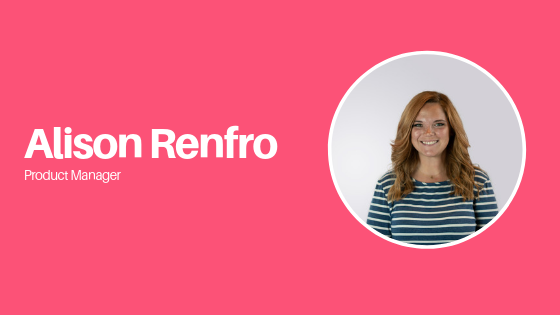 product manager alison with photo in circle on pink background