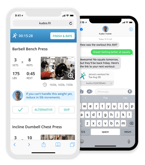 Your online fitness coach sends daily workouts via our app