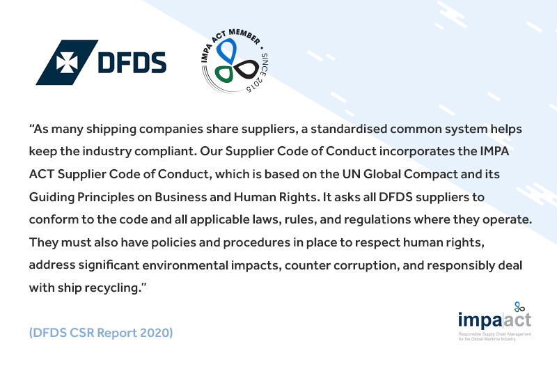 DFDS A/S publishes 2020 Sustainability Report and reports on IMPA ACT work