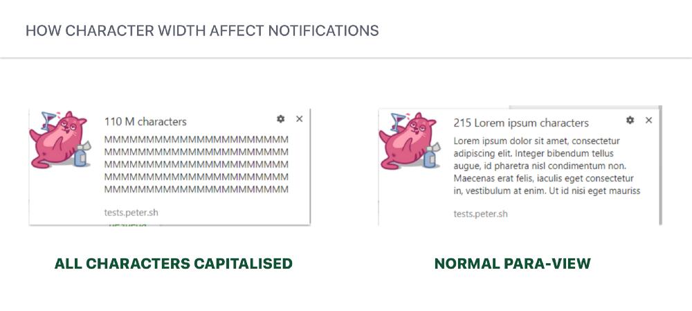 push notification character width