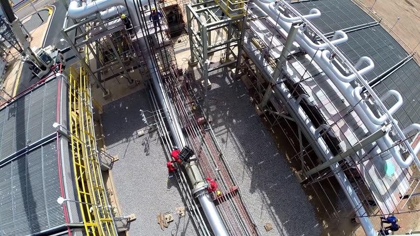 An aerial shot of an oil and gas facility
