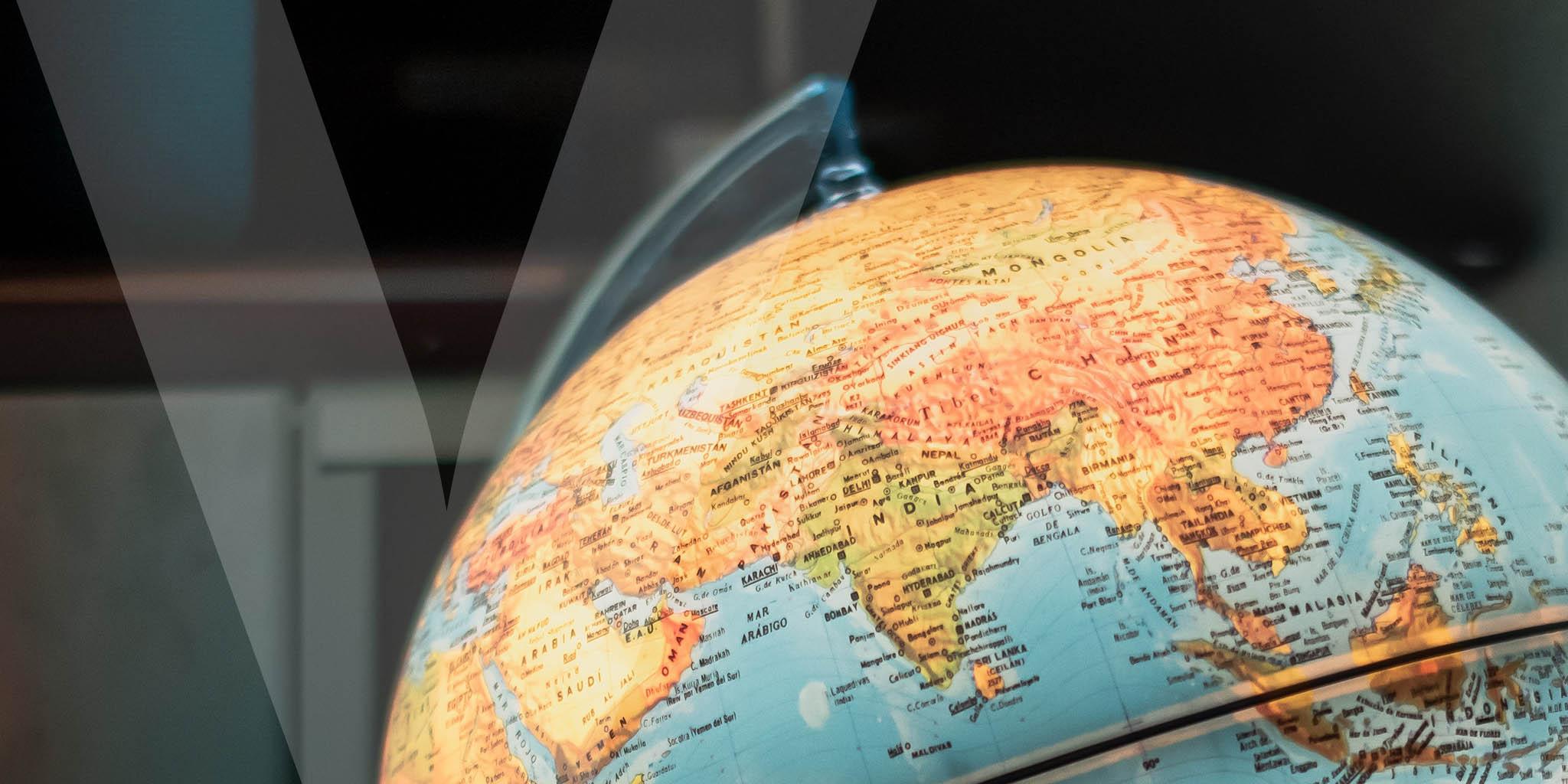 A close-up image of a globe