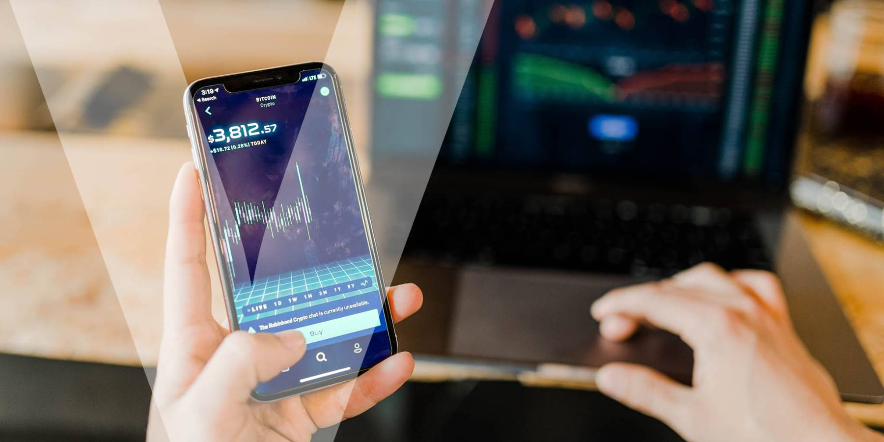A person using an app to buy crypto currency online