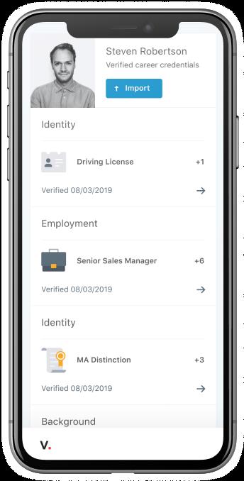 Veremark's career passport shown on the app