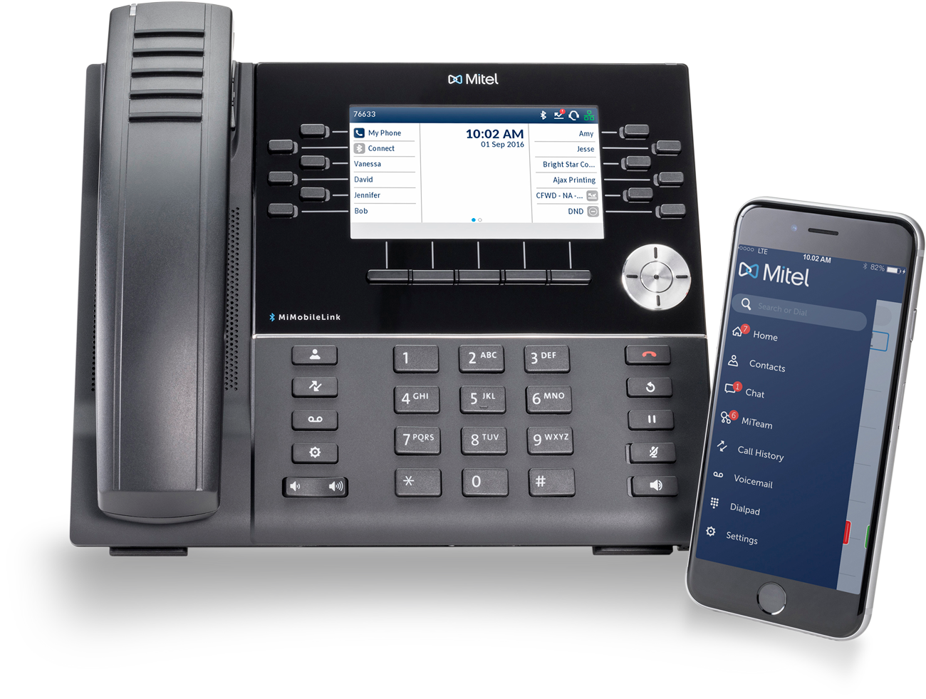 Mitel 6930 handset with iPhone