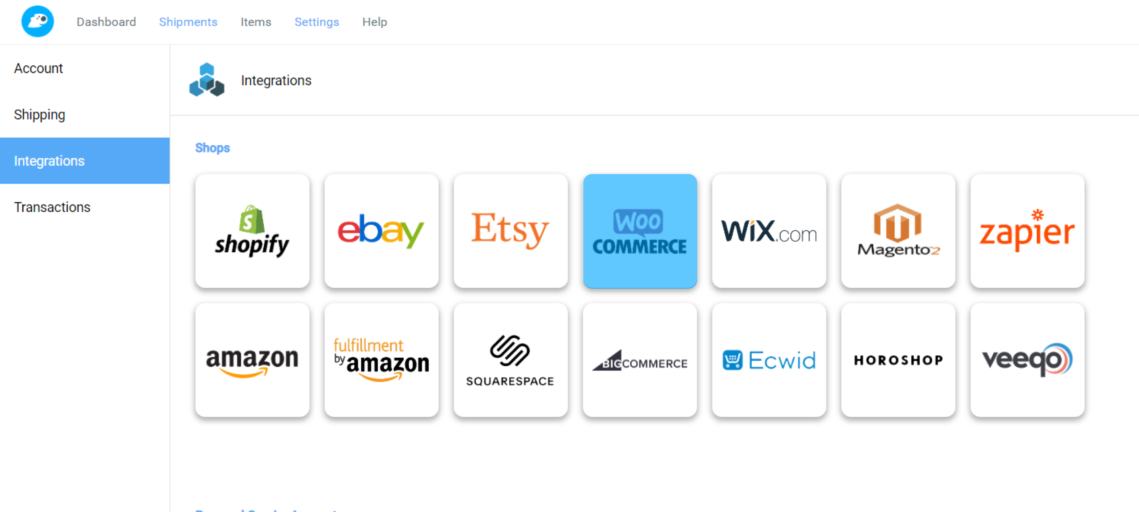 Fetchy account Integrations - WooCommerce marked