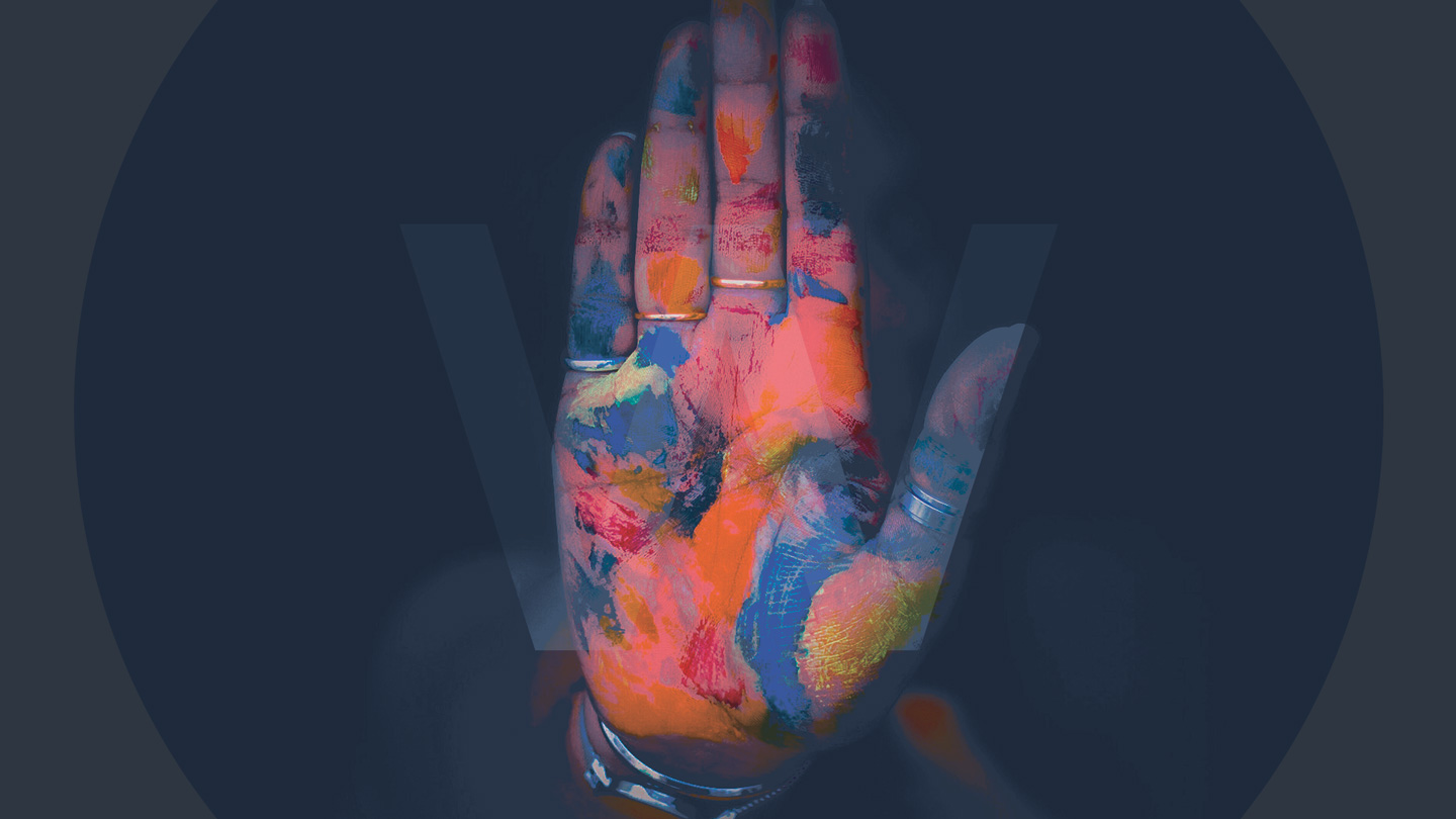 A transparent version of the Watb Logo with a multi coloured hand behind