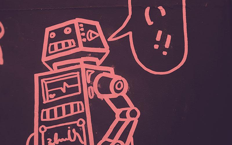 A cartoon robot with speech bubble