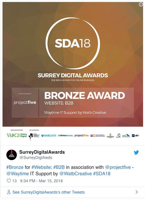 Surrey Digital Awards 2018 Bronze Award