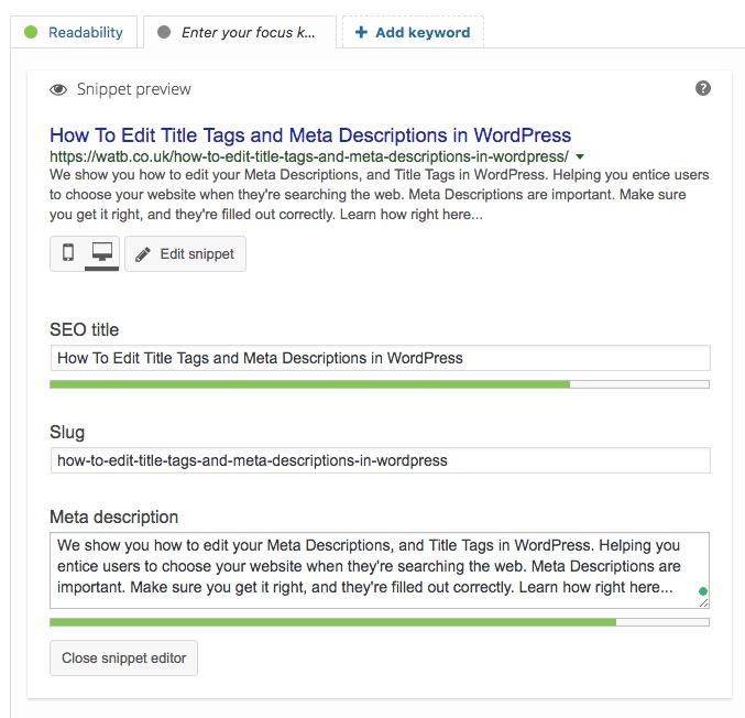 Editing Meta Descriptions in Yoast SEO