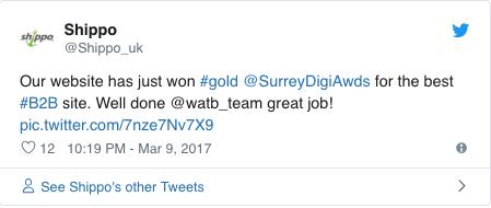 Shippo Gold Award Tweet