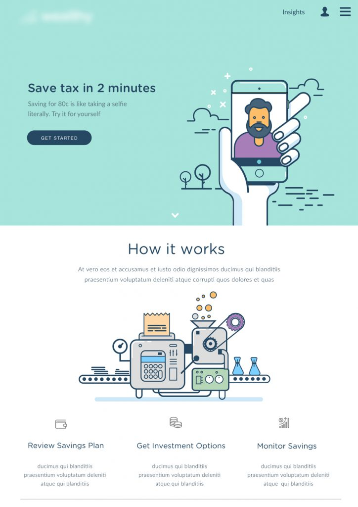 Graphically designed Landing Page