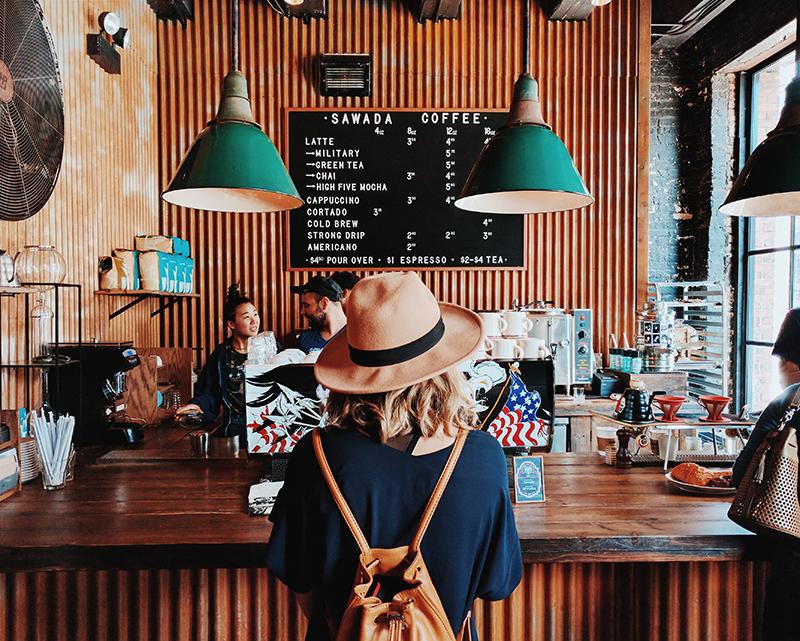 A customer in a Coffee Shop