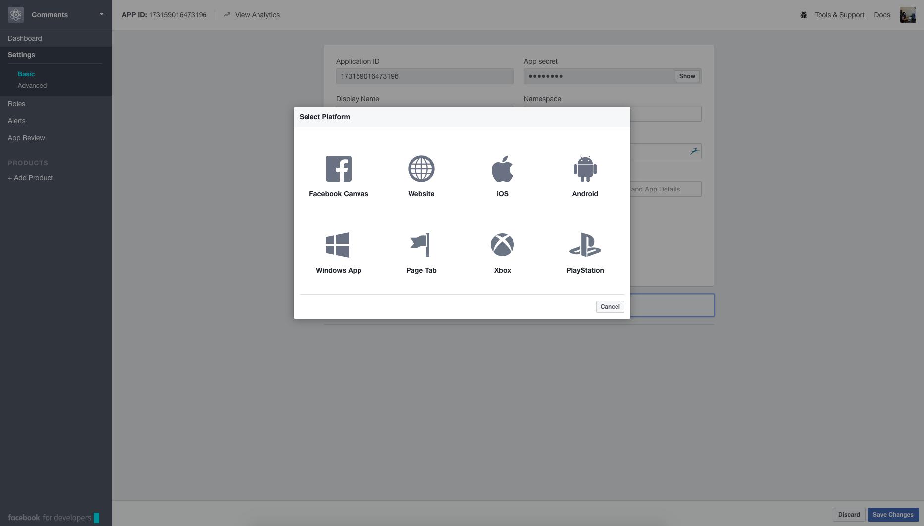 Facebook Developer Tools Interface