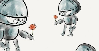 Two cartoon style robots offering flowers