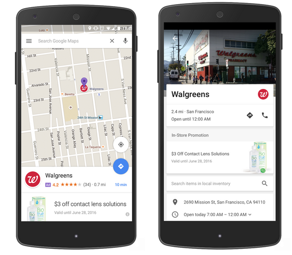 Google Maps on mobile devices demonstrating Branded Pins