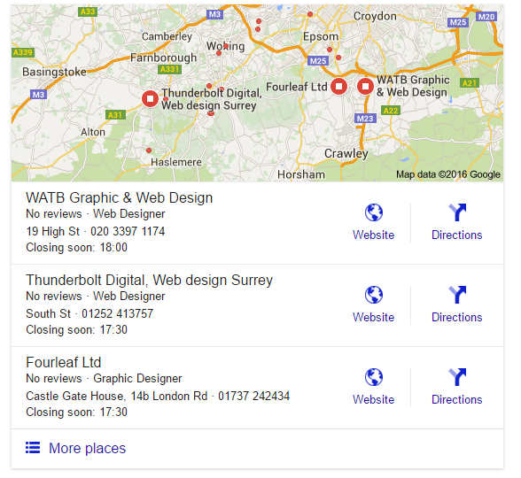 A screen capture for Web Design Surrey Search results