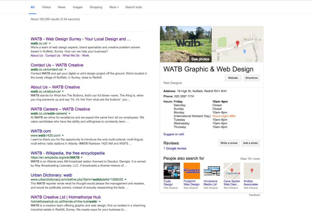 Watb Google Local Search example
