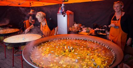 A huge bowl of Paella from one of the festivals