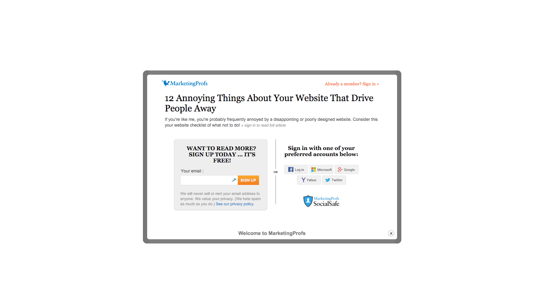 An image of an article relating to annoying websites