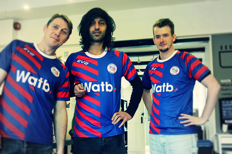 Watb Sponsored Football Kits worn by some of the team here at Watb