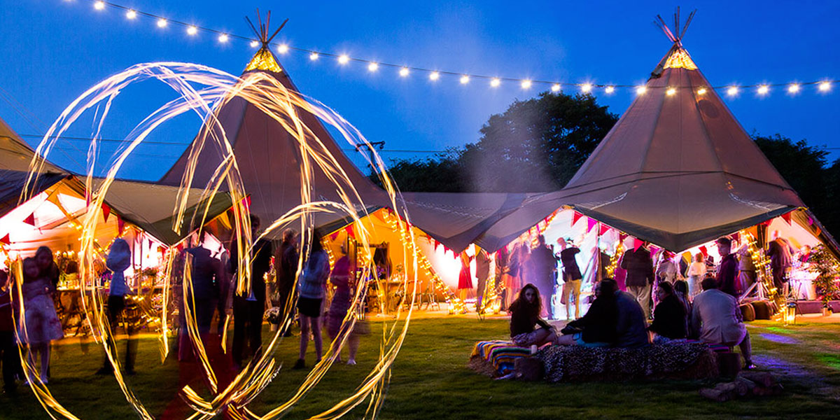 An outdoor festival themed party