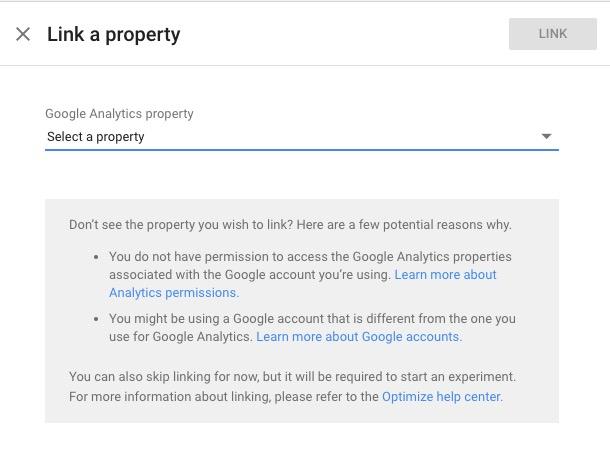Google Optimise Link Google Analytics