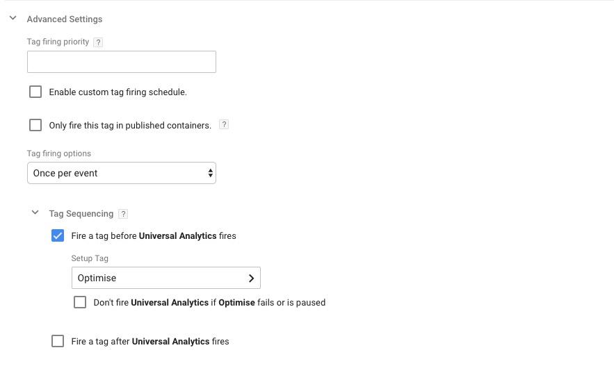 Google Tag Manager, Universal Analytics Advanced Settings