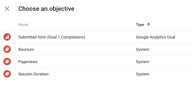 Google Optimize Objectives Goals