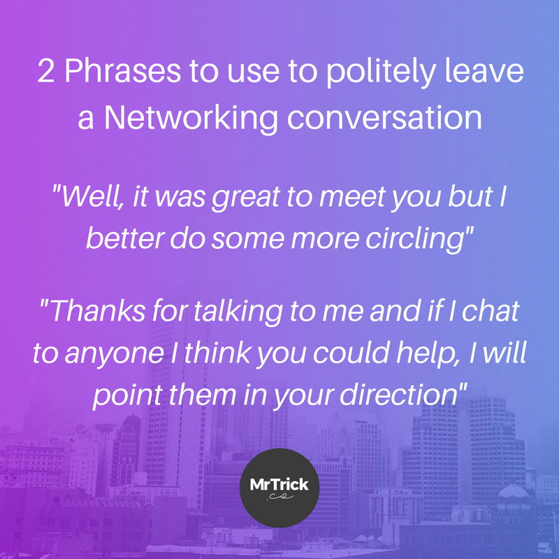 politely leaving networking conversations