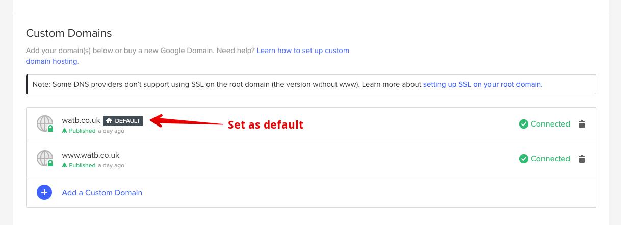 screenshot of webflow hosting dashboard