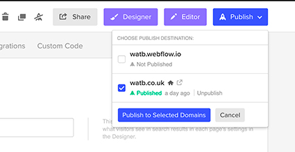 screenshot of webflow dialog