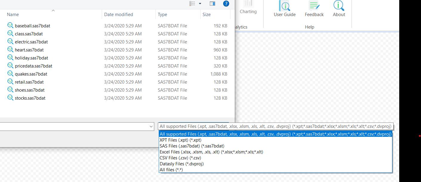 Open data files
