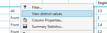 View Distinct Values