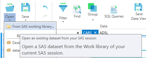 Open datasets from SAS session