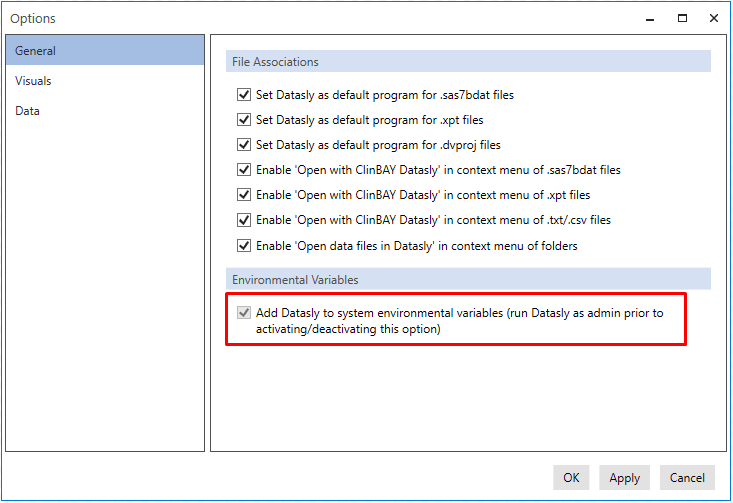 Adding Datasly to system environment variables