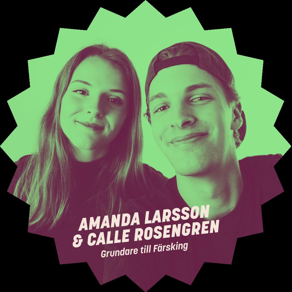Amanda Larsson & Calle Rosengren, grundare till Färsking.