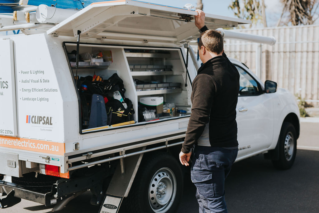 Electrician with a fully stocked van