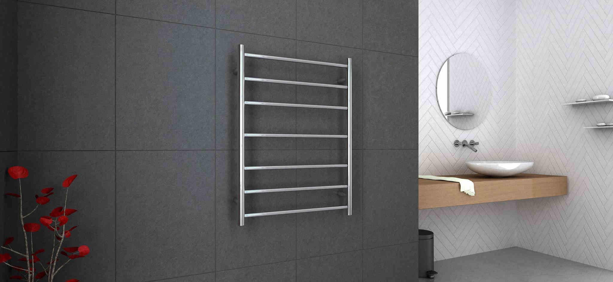 Ladder design heated towel rail