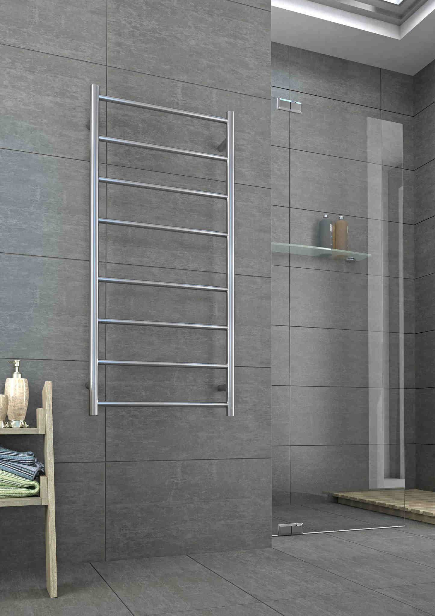 Silver heated towel rail