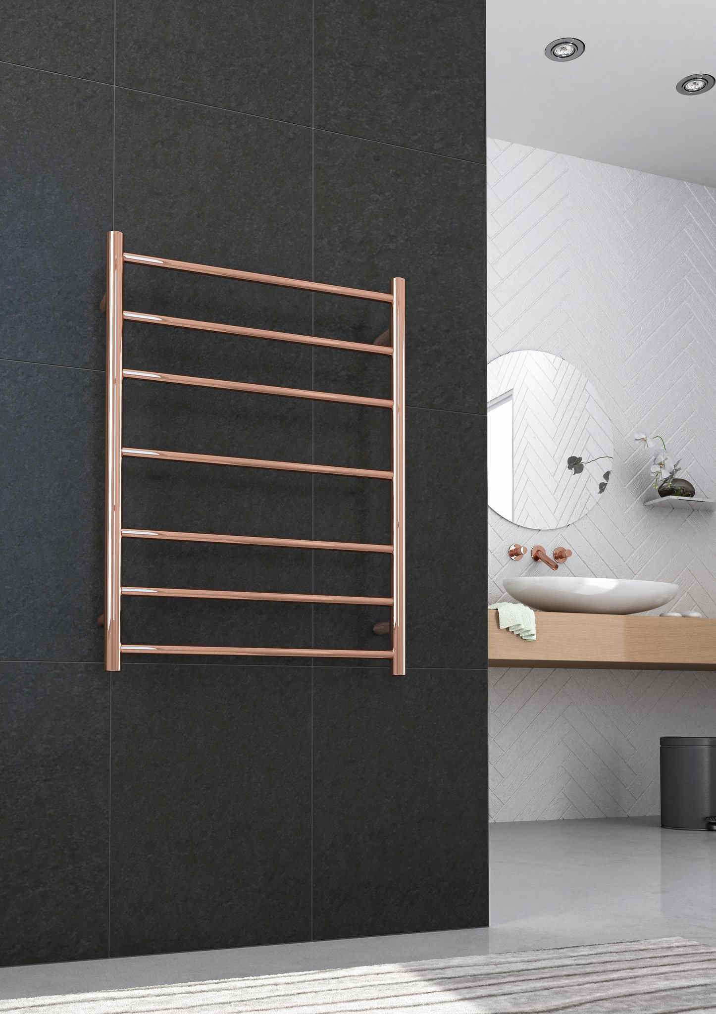 Rose Gold heated towel rail