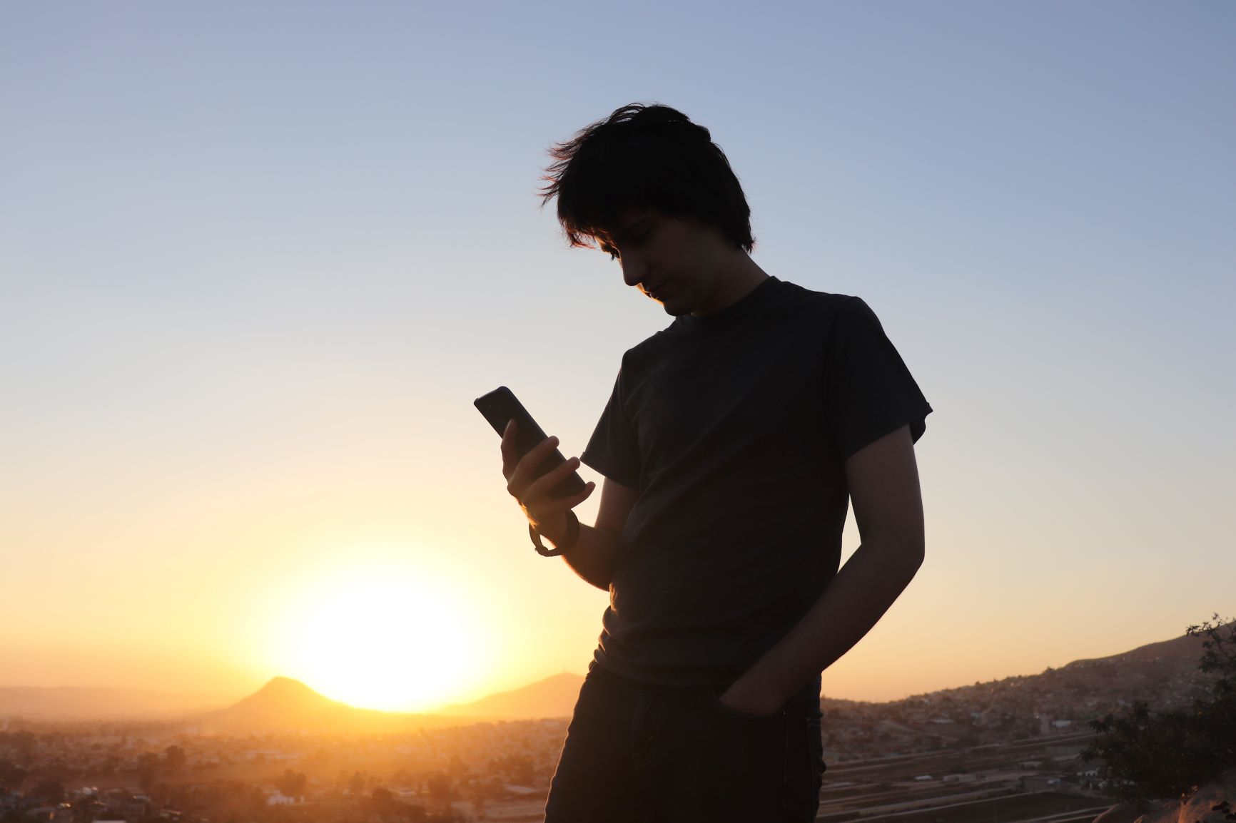 Man checking intercom notification on phone