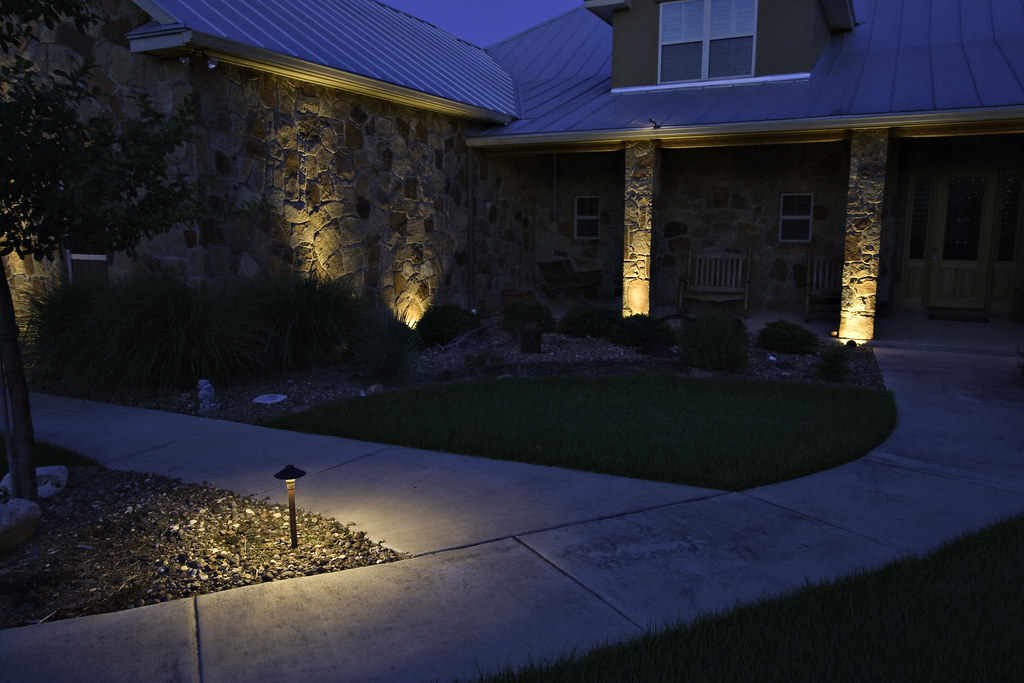 Spotlight feature lighting on front of house