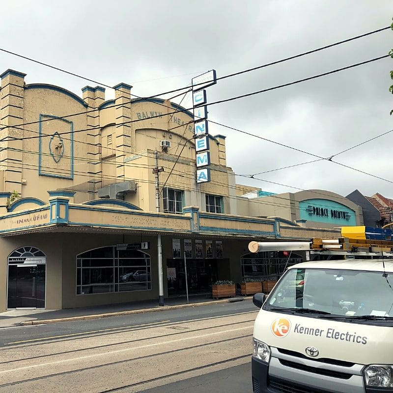 Palace Cinema in Balwyn with Kenner Electrics van parked in front