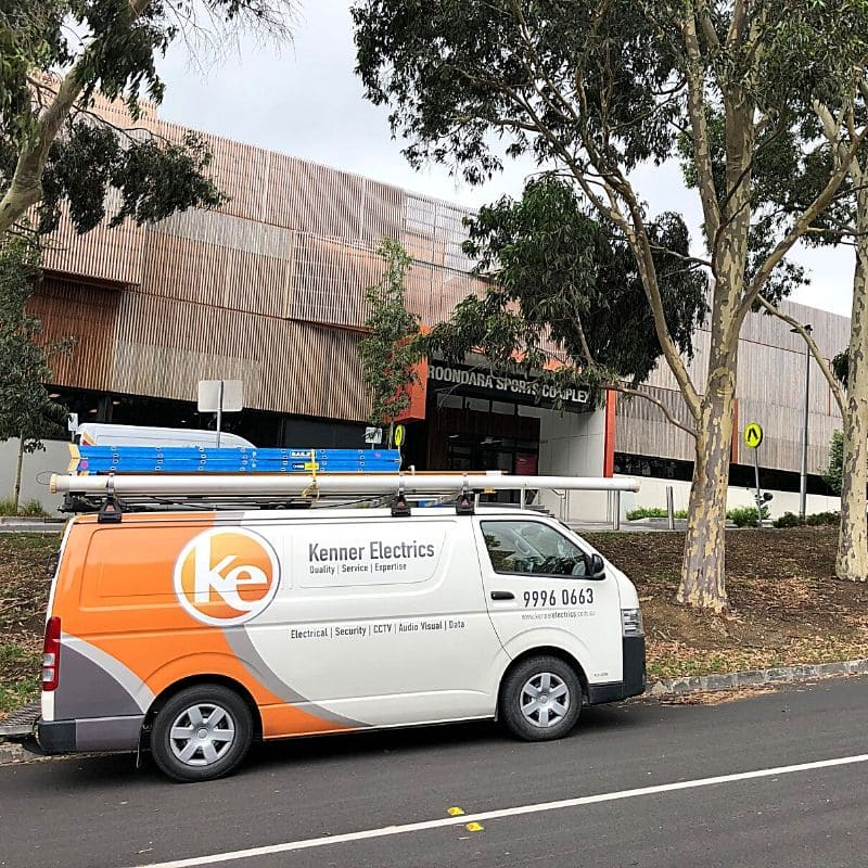 Kenner Electrics electrician van in front of Boroondara Sports Complex in Balwyn North