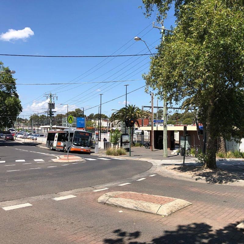 Bus outside Blackburn train station